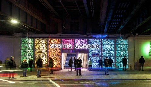Spring Garden El Station at night, Philadelphia