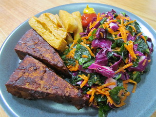 BBQ Baked Tofu, Honey Mustard Kale Slaw, Chickpea Fries