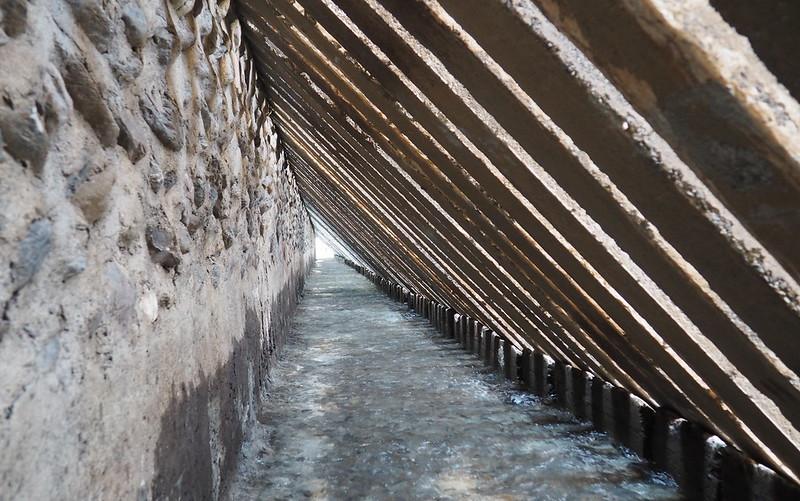 進入堰堤內可見清澈的伏流水源源不斷,丁澈士說,在最乾旱的時候,伏流水是重要的救命水。攝影:李育琴。
