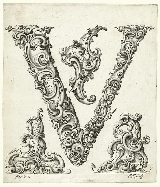 021- Letra V-Libellus Novus Elementorum Latinorum -J. C. Bierpfaff-  Rijksmuseum