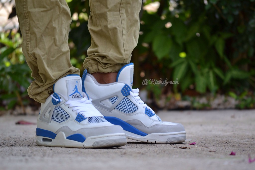 brand new b4456 fd9a2 ... prsneakersolution Retro 4 Military Blue on feet by prsneakersolution ...