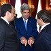 Secretary Kerry Chats With Qatari Foreign Minister Al Attiyah and Turkish Foreign Minister Davutoglu After Group Meeting in Paris About Gaza Cease-Fire