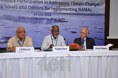 Mr J M Mauskar; Dr Prodipto Ghosh; and H.E. Mr Eivind S Homme at the workshop on 'Developing Country Participation in Addressing Climate Change: Analyzing Issues and Options for Implementing NAMAs'