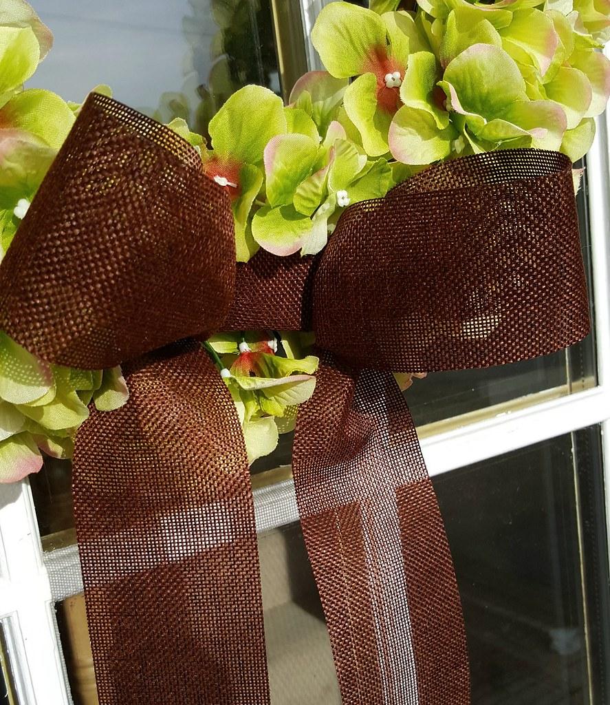 Spring Hydrangea Wreath burlap bow