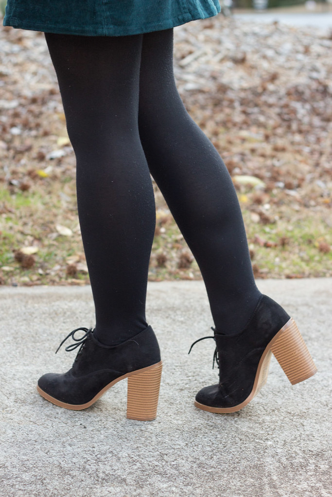 Classic Black Tights and Lace Up Block Heel Boots