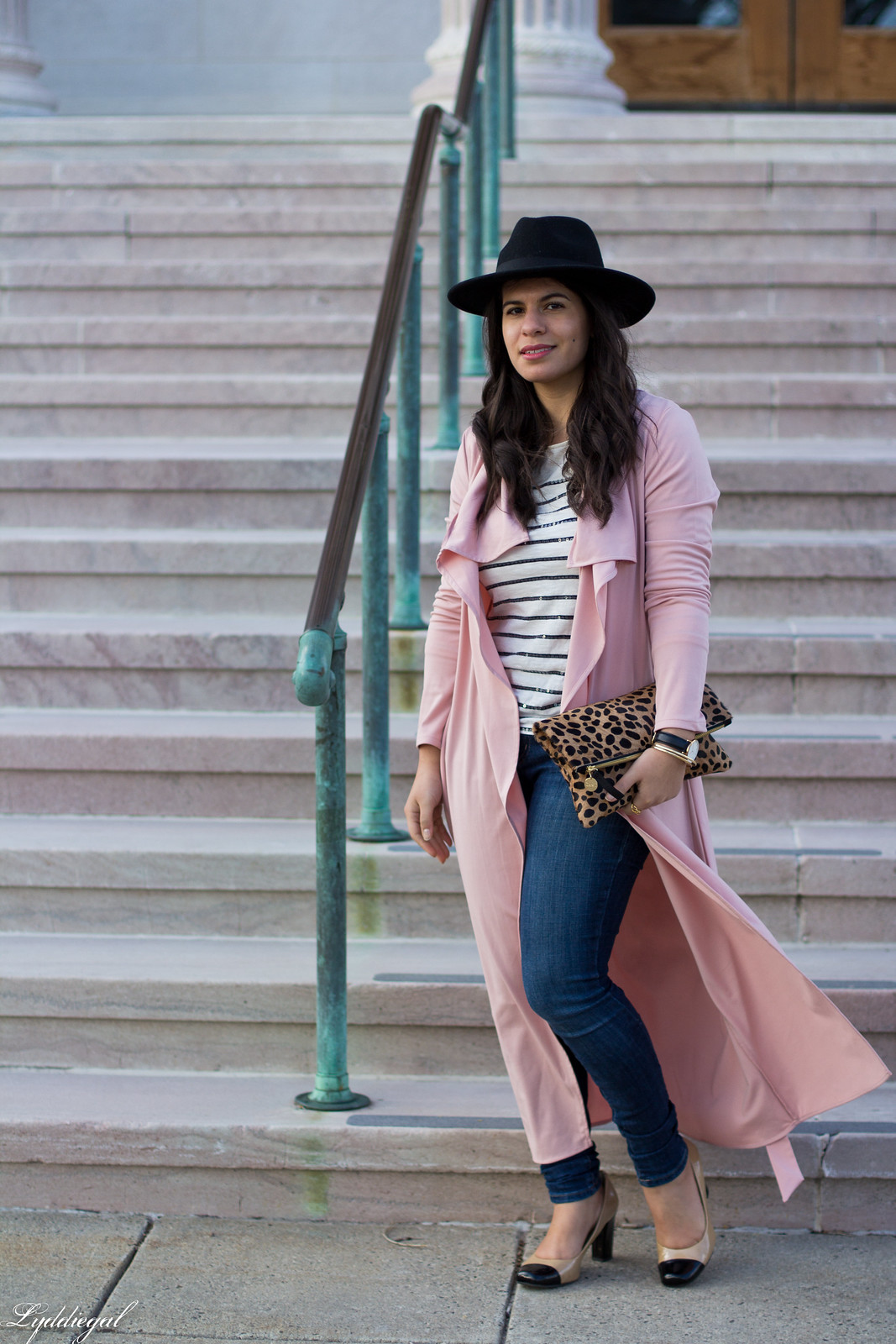 blush draped trench coat, striped tee, leopard clutch.jpg