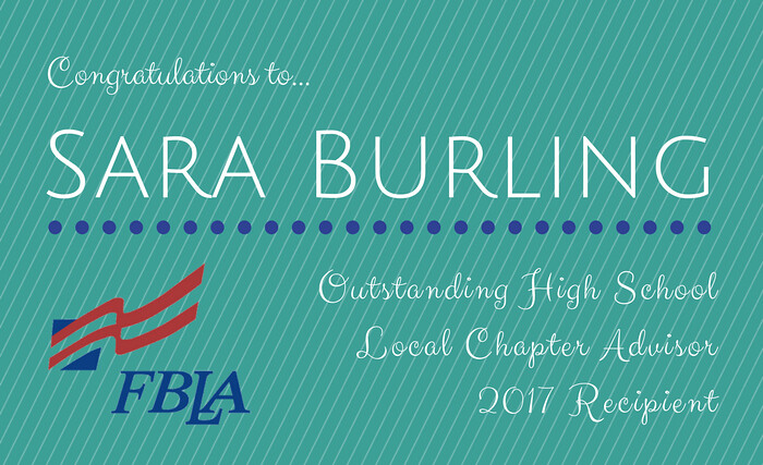 Sara Burling FBLA Outstanding Advisor