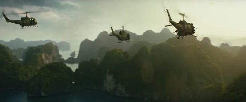 Choppers flying over Ha Long Bay