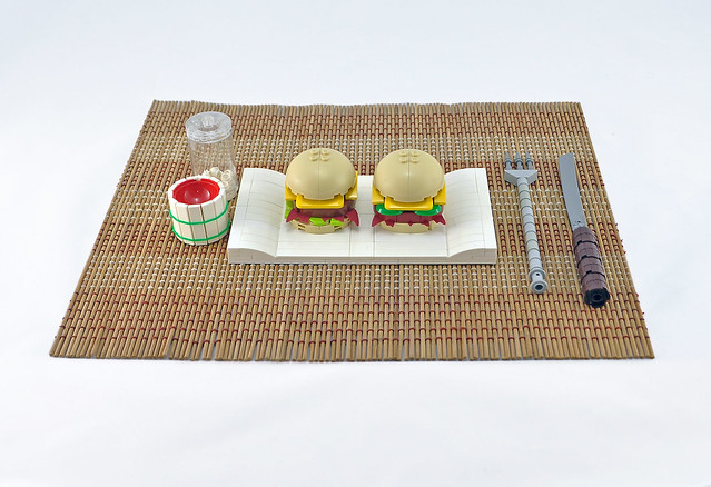 Mini burger and ketchup