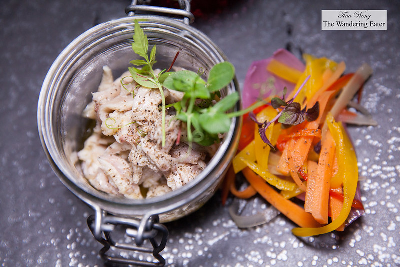 """Tonno"" di coniglio (rabbit marinated in olive oil with pickled vegetables)"