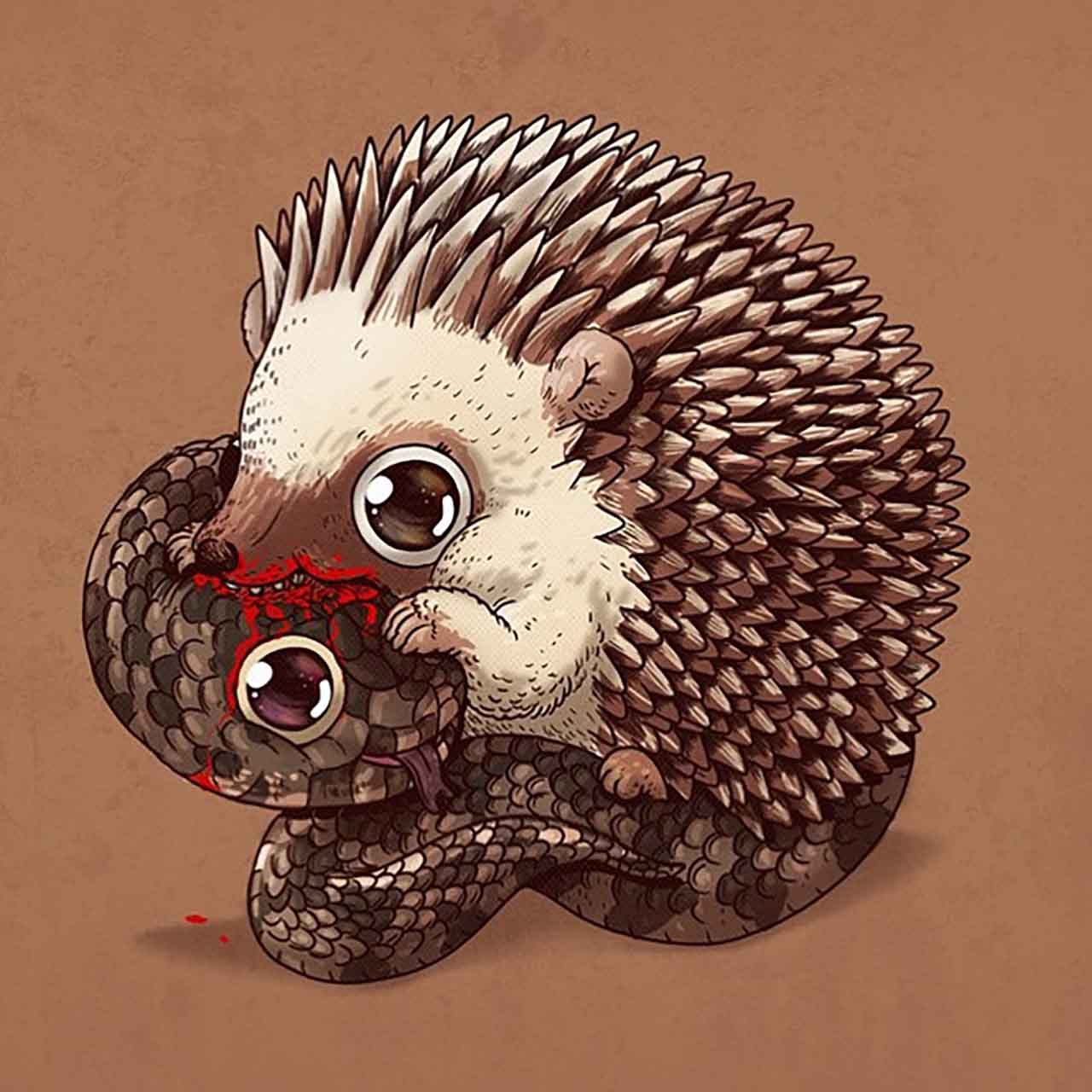 "Artist Creates Extremely Adorable ""Predator & Prey"" Illustrations #20: Hedgehog & Adder Snake"