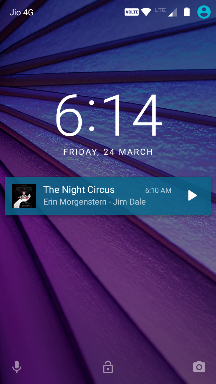 eStories Audiobook Service App on LockScreen