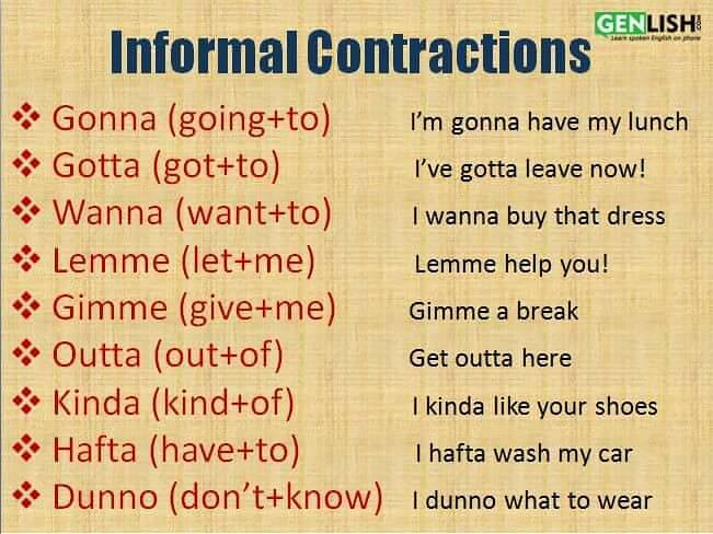 Contractions in informal writing assessment