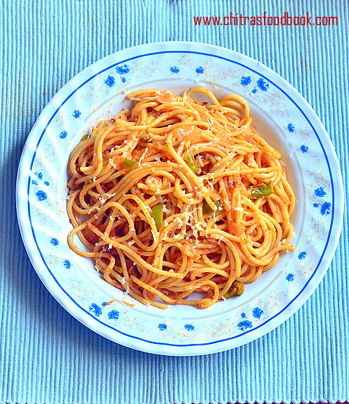 Indian vegetarian spaghetti recipe