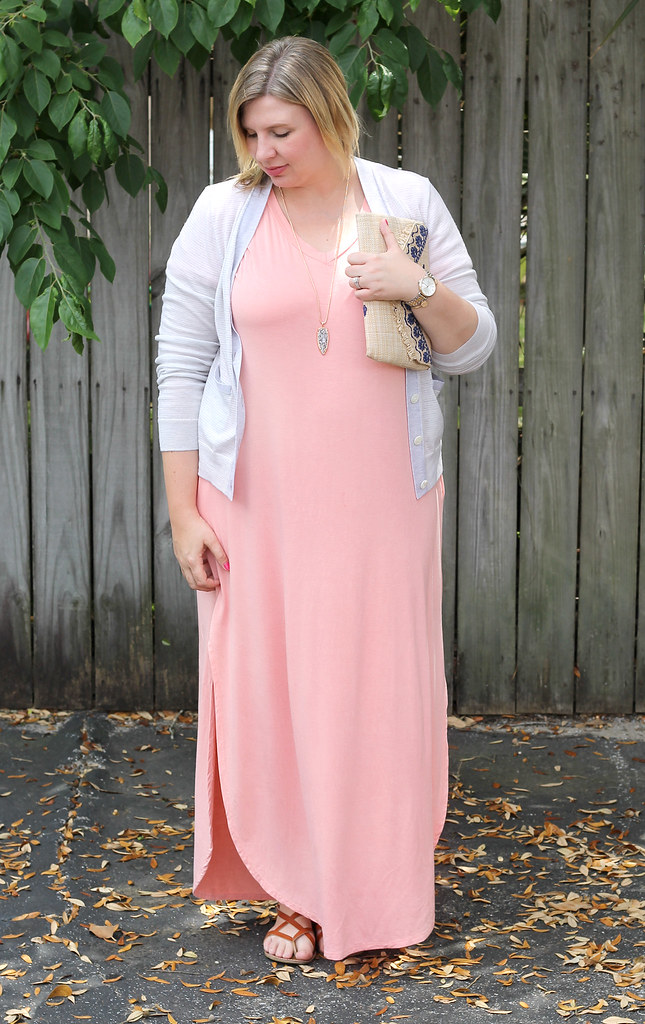 pink oversized maxi, gray stripe cardigan 4