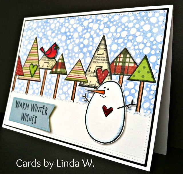 Snowman with cardinal and trees scene