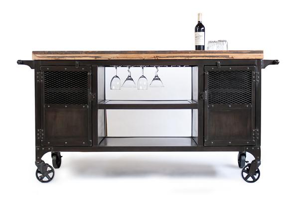 Custom bar reclaimed train car floor wood butcher block for Coffee cart for home