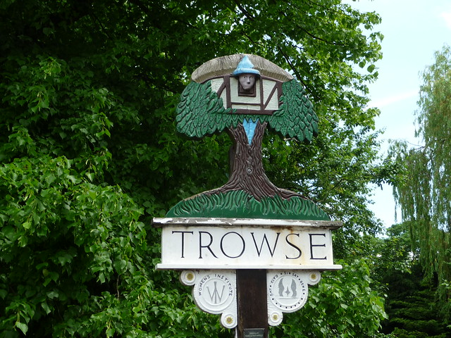 Trowse Village Sign Close Up
