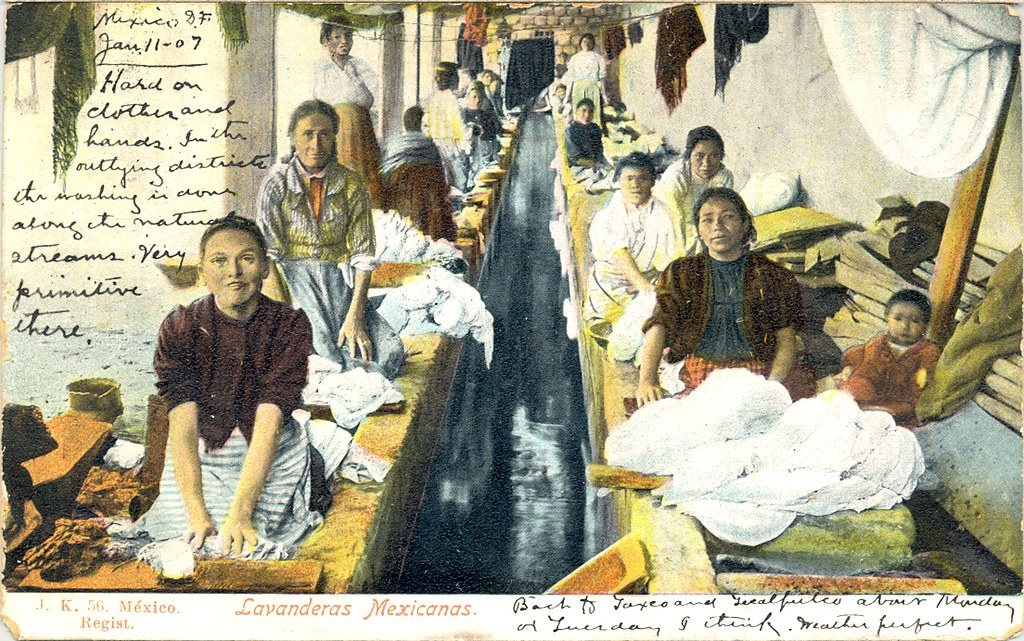 Vintage Mexican Postcard Laundry