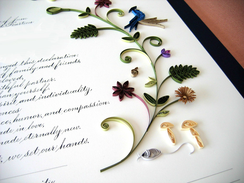Quilled Quaker Marriage Certificate Detail Quilling By A Flickr