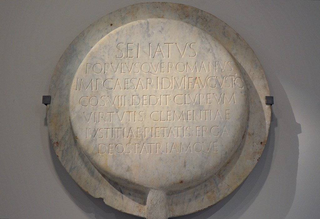 Marble Copy Of The Clipeus Virtutis Of Augustus Honorific
