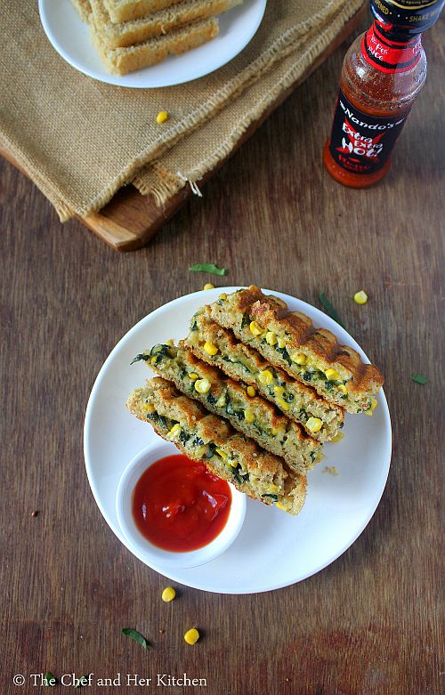 cheesy spinach corn sandwich