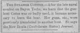 Steamer Cotten newspaper account