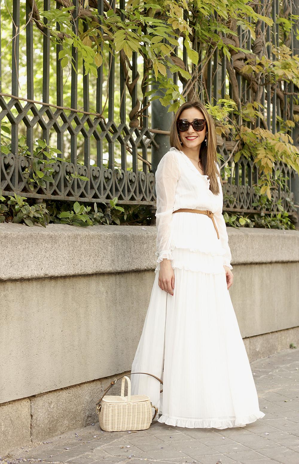 white maxi dress Subtle golden stripes wicker bag sandals céline sunnies spring outfit 05