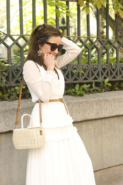 white maxi dress Subtle golden stripes wicker bag sandals céline sunnies spring outfit 09
