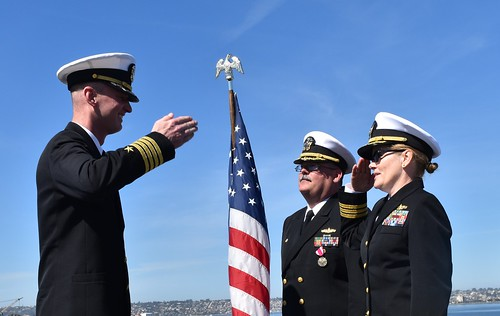 SAN DIEGO – Cmdr. Tammy Royal officially relieved Cmdr. Jon Rigby as commanding officer of dock landing ship USS Harpers Ferry (LSD 49) during a change of command ceremony on the flight deck of USS Midway Museum, Mar. 9.