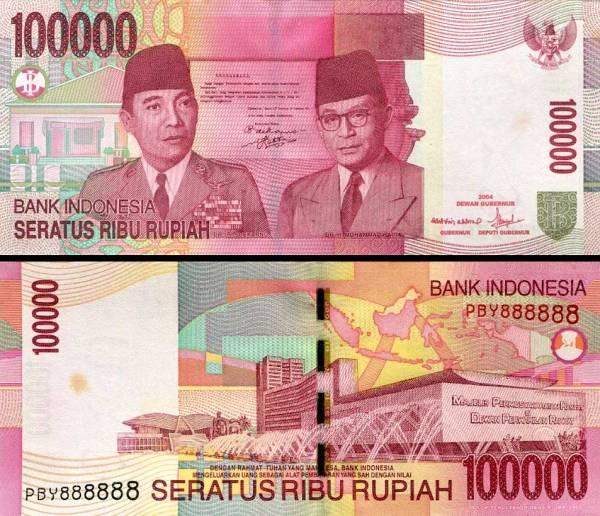 100 000 Rupiah Indonézia 2004/2007, P146c