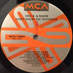ERIC B. & RAKIM:DON'T SWEAT THE TECHNIQUE(LABEL SIDE-B)