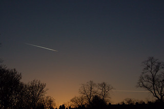 Aircraft trails in the autumn sky over the Botanics | by Ravi A