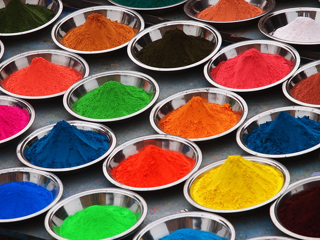 different colored powders