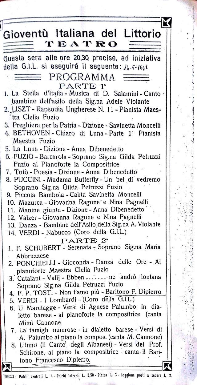 Noicattaro. Programma teatro 1941 intero1