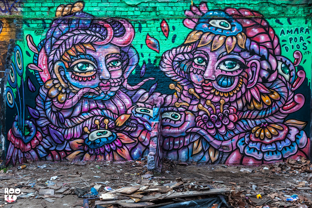 Brick Lane Street Art Mural painted by Amara Por Dios. Photo ©Hookedblog / Mark Rigney