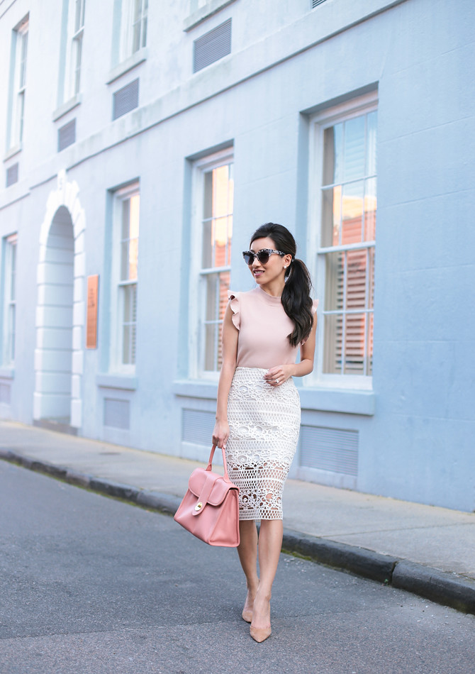 elegant outfit white lace pencil skirt petite fashion blog