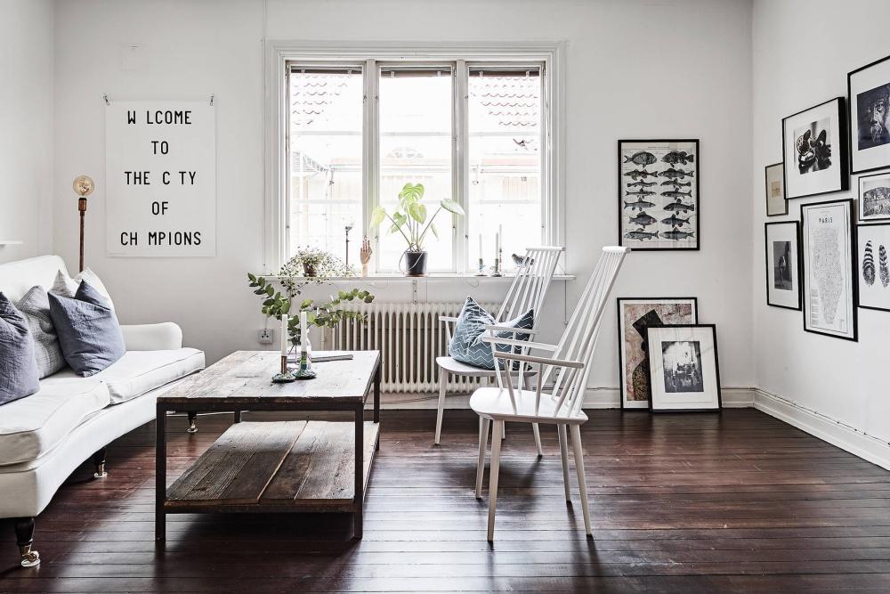 Scandinavian Home with Dark Wood Floors