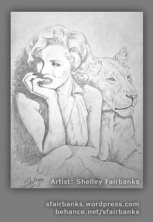 Marilyn Monroe with Lion - drawing by S. Fairbanks | by sfairbanksart