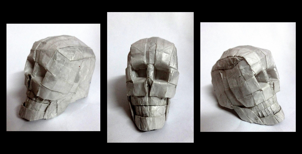 Origami Skull 3d Designed And Folded By Me From 25 Cm Squa Flickr