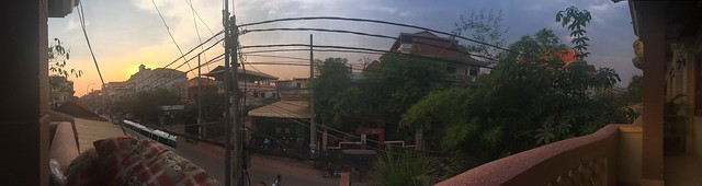 View from our hotel in Siem Reap at Sunset