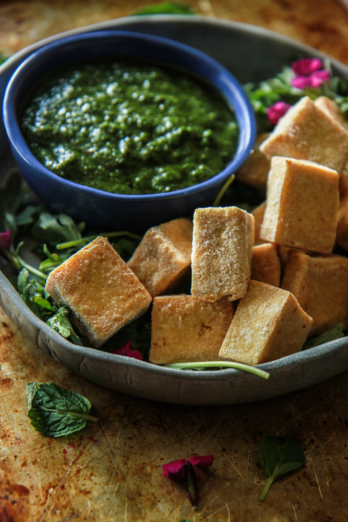 Vegan Fried Tofu with Chimichurri Dipping Sauce from HeatherChristo.com