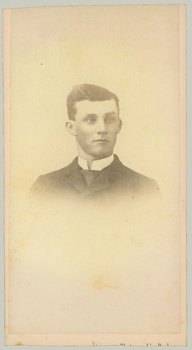 Portrait of young man on long card, trimmed