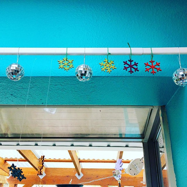 "Josh's snowflake/disco ball decoration in the kitchen. ""Do we get to take the snowflakes down in five days when winter is over?"" I asked him yesterday. (Side note: YAY SPRING)"