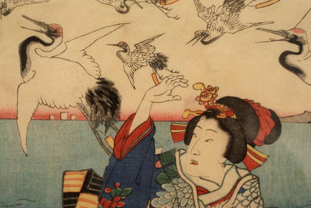 Peinture d'après la version japonaise des oiseaux de Hitchcock.