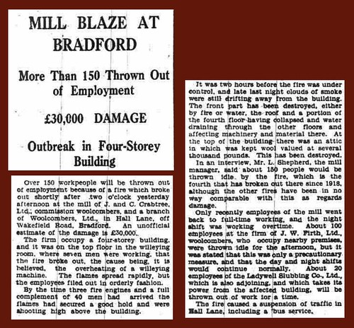 27th March 1934 - Fire at Woolcombers, Hall Lane, Bradford | by Bradford Timeline