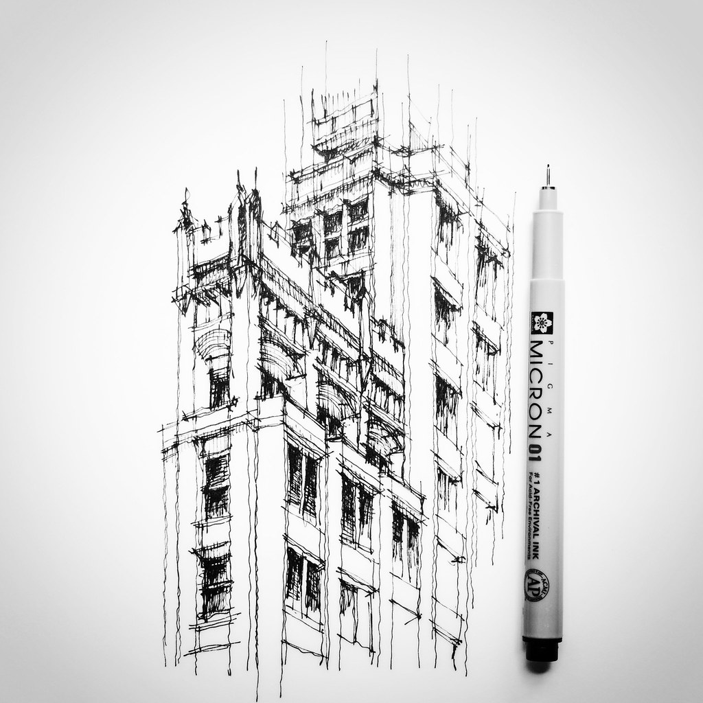 Cathedral building oakland california detail sketch Online architecture drawing