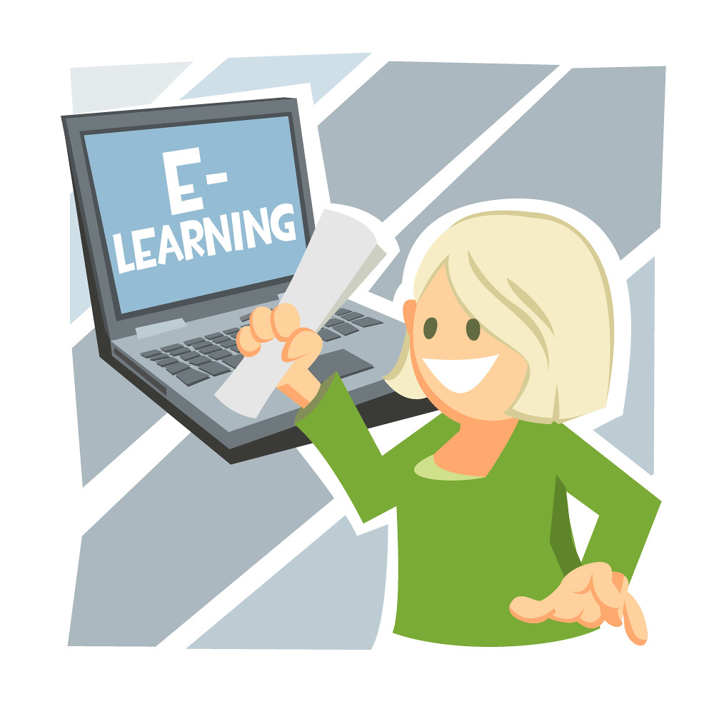 E-learning Certificate | Illustration of a woman holding a ...