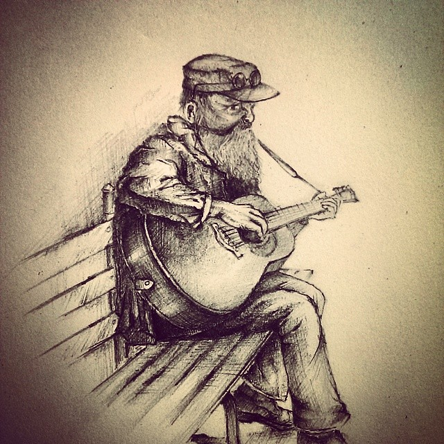 Pencil sketch man playing guitar alone art by