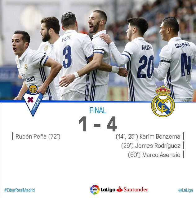 La Liga (Jornada 26): Eibar 1 - Real Madrid 4